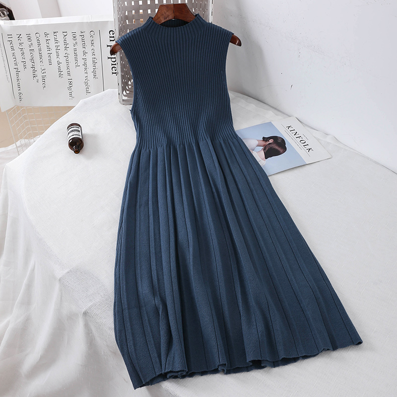 2019 new fashion women's knitted dresses retro high neck long sleeveless knitting sweater dress