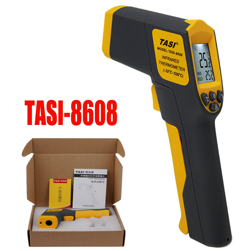 TASI-8608 Infrared Thermometer Industrial Thermometer non contact Digital temperature test tool tes 1326s industrial infrared thermometer 35 500c
