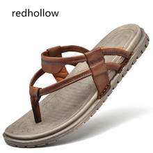купить Casual Men's Summer Shoes Slippers Slip On Footwear Beach Flip Flops Slippers Cow Leather Soft Flat Men Shoes Non-slip Sandal по цене 1364.14 рублей