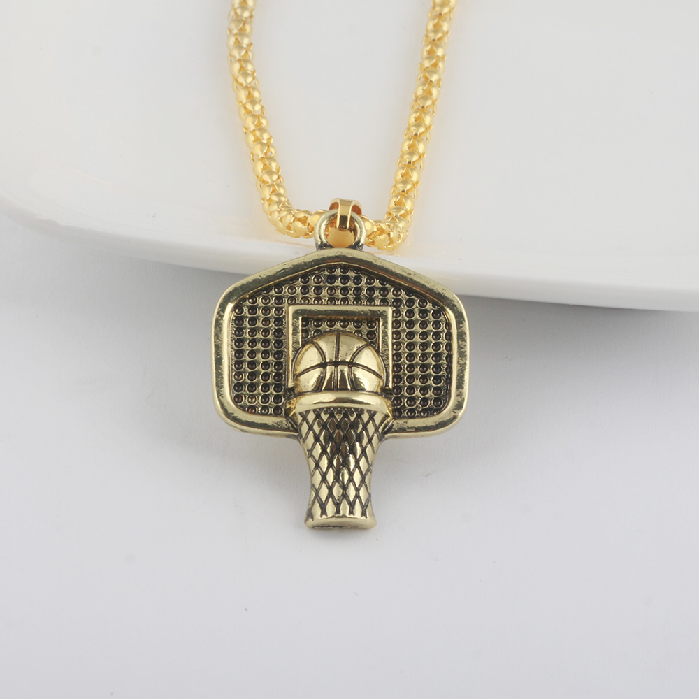 SG 2018 Newest Fashion Hiphop Style Men Basketball Necklace Pendant Glod Basketball And Basketball Box Board Hoop Necklace