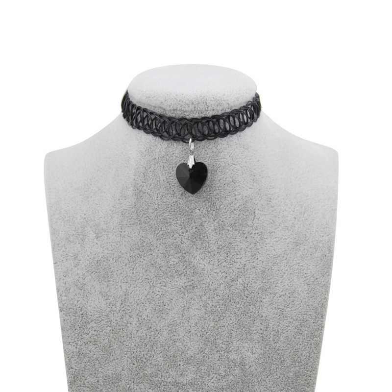 Original novo cristal quente tatuagem gargantilha estiramento colar feminino vintage elástico preto coração chocker colares meninas jóias presente