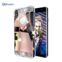 For Samsung Galaxy S8 Plus S7 S6 A3 A5 A7 J3 J5 J7 2016 2017 Case Luxury Diamond Crystal Glitter Mirror Ring Holder Back Cover
