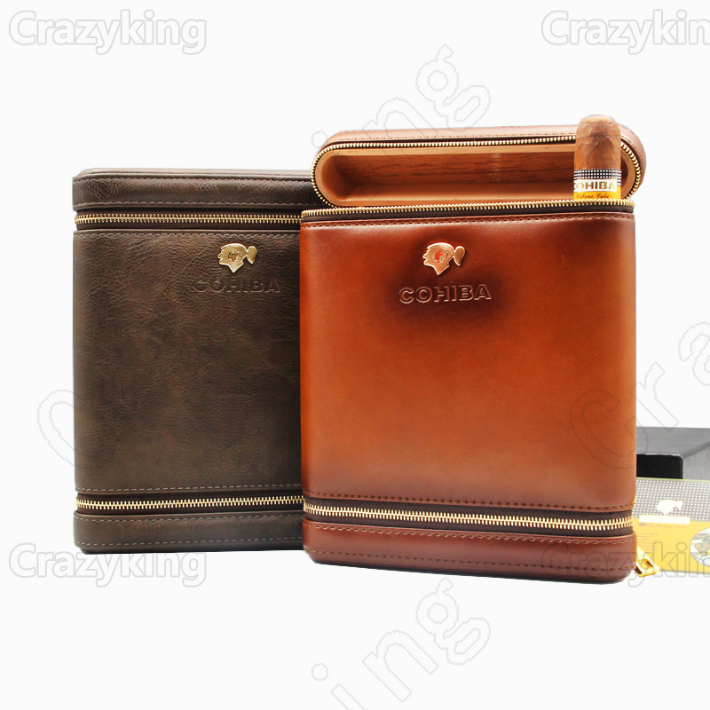 COHIBA Real Cowhide Leather Lined Cedar Wood Zipper Travel Cigar Case Holder 6 Tube Humidor With