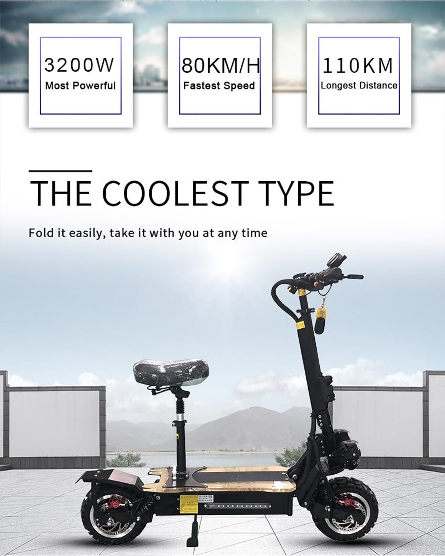 60v3200w scooter elétrico 11 polegada fora da