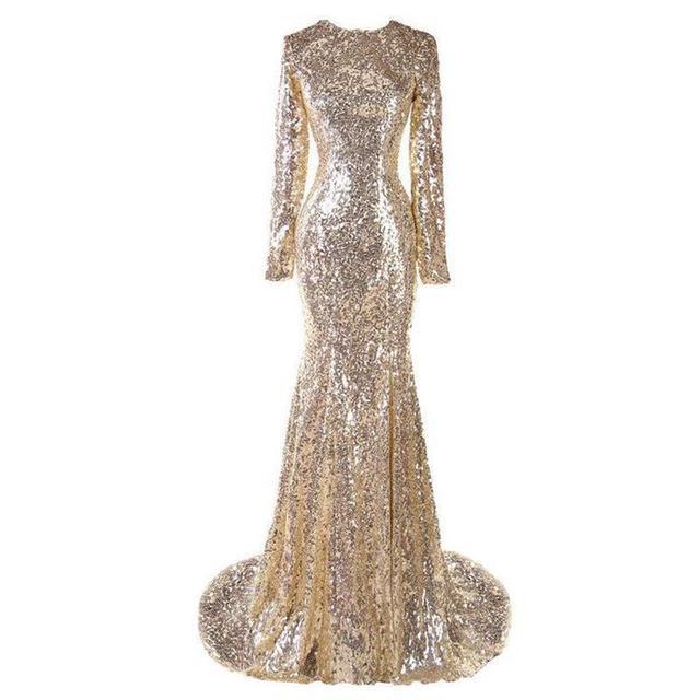 Sequins Della Sirena vestiti Lunghi Prom Abiti Da Sera 2017 Elegante Manica  Lunga Champagne Oro Donne b334c50a542