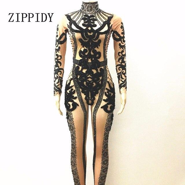 Glisten Black Crystals Rhinestones Rompers Women's Stretch Jumpsuit Outfit Bling Bodysuit Nightclub Sparkly Costume Stones Wear