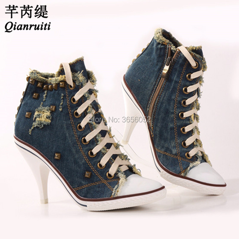 Zapatos Pic Zip As Anke as Qianruiti Lace Studs Denim Toile Chaussures Up High Mujer Bleu Hauts Bottes Top Tacon Pic Mode Pompes 2018 Rivet Talons dqqFSxw
