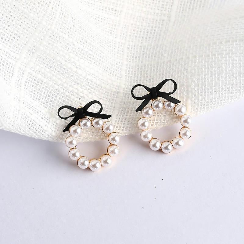 Classic Bowknot Acrylic Women Stud Earrings Lovely Girl Bow Tie Pearl Ear Studs Fashion Jewelry Womens Accessories Earrings Pink