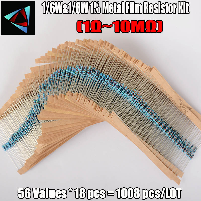 New! 1008Pcs 56 Values 1/6W&1/8W Metal Film Resistors 1-10M Ohm Electronic Component Set Resistance Value That You Need