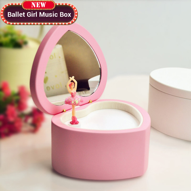 Heart Shaped Ballet Girl Music Box White Pink Wooden Musical Boxes