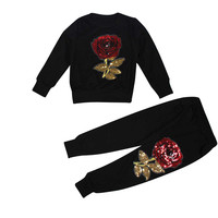 girls clothing sets kids tracksuit Rose Embroider T-shirt Tops+Pants Outfits clothing set toddler girl clothing ropa mujer good