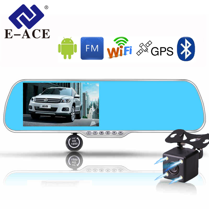 E-ACE Car DVR Android Touch  GPS Navigation Rearview Mirror Bluetooth FM Dual Lens Wifi Dash Cam Full HD 1080P Video Recorder 5 inch car camera dvr dual lens rearview mirror video recorder fhd 1080p automobile dvr mirror dash cam