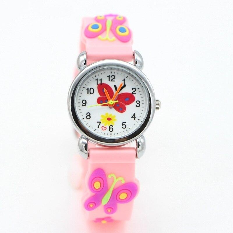 New 3D Cartoon Butterfly Design Analog Children Kids Watch Girls Boys Students Fashion Gift Quartz Watches Wristwatches Relogio