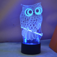 LED Night Light USB Creative Owl 3D Night Light Lighting Change LED Table Desk Lamp Xmas Fashion Veilleuse birthday present