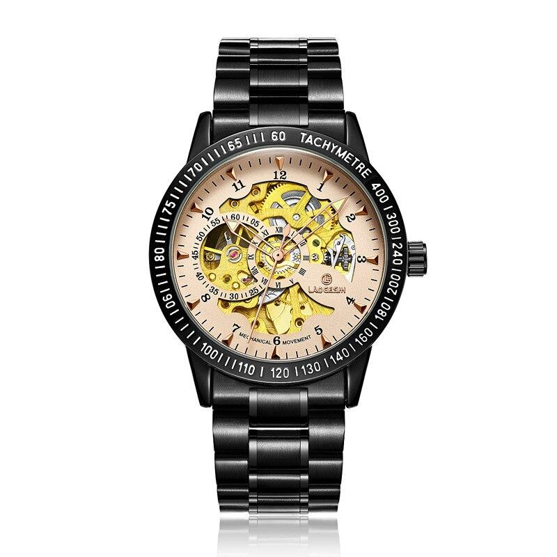zegarki meskie Stainless Steel Automatic Mechanical Watches Men Brand Luxury Transparent Hollow Skeleton Military Watch