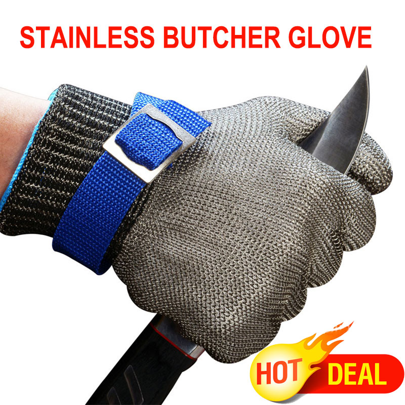 NMSafety Hig Quality Safety Cut Proof Protect Glove 100% Stainless Steel Metal Mesh Butcher Gloves AISI 316L