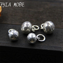 Fyla Mode Summer Collection 925 Sterling Silver Bells Pendant Charms Antique Carved Silver Fit Bracelet DIY Jewelry WTL001