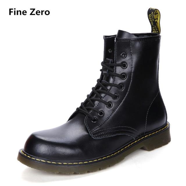 Тонкой zero унисекс из воловьей кожи Разделение зимние теплые винтажные мотоботы мужской меховой плюшевые ботинки Martin Для мужчин Зимние ботильоны высокие сапоги