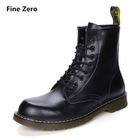 Fine Zero UNISEX Cowhide Split Winter Warm Vintage Motorcycle Boots Male Fur Plush Martin Shoes Men