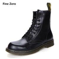 Fine Zero UNISEX Cowhide Split Winter Warm Vintage Motorcycle Boots Male Fur Plush Martin Shoes Men