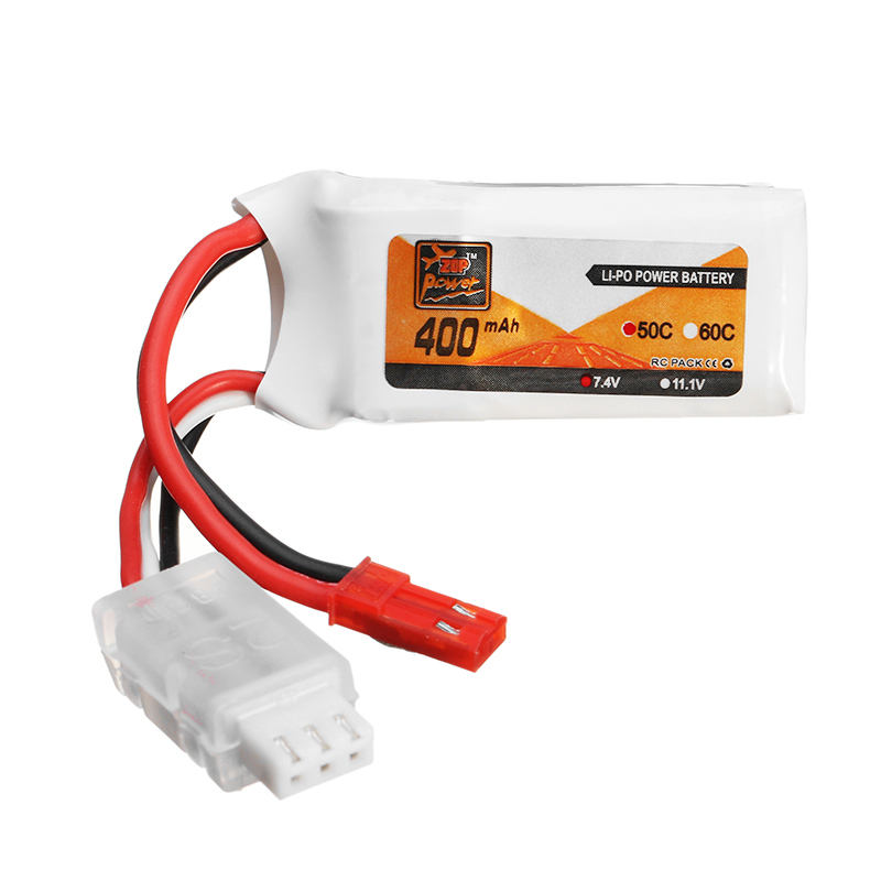4PCS ZOP Power <font><b>7.4V</b></font> <font><b>400mAh</b></font> 2S 50C <font><b>Lipo</b></font> <font><b>Battery</b></font> JST Plug For Aurora 68 Fatbee FB90 RC Racing Drone image