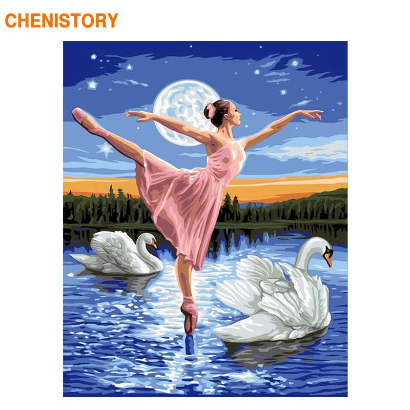 Chenistory Бескаркасный лебедь Балет танцор DIY Краска ing по номерам Современная Настенная картина акриловая краска по номерам для домашнего декора