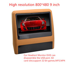 800*480 universal 9 inch Car Headrest Monitor DVD can disassemble the USB port, SD card slot,support 32 bit games,MP3,MP4