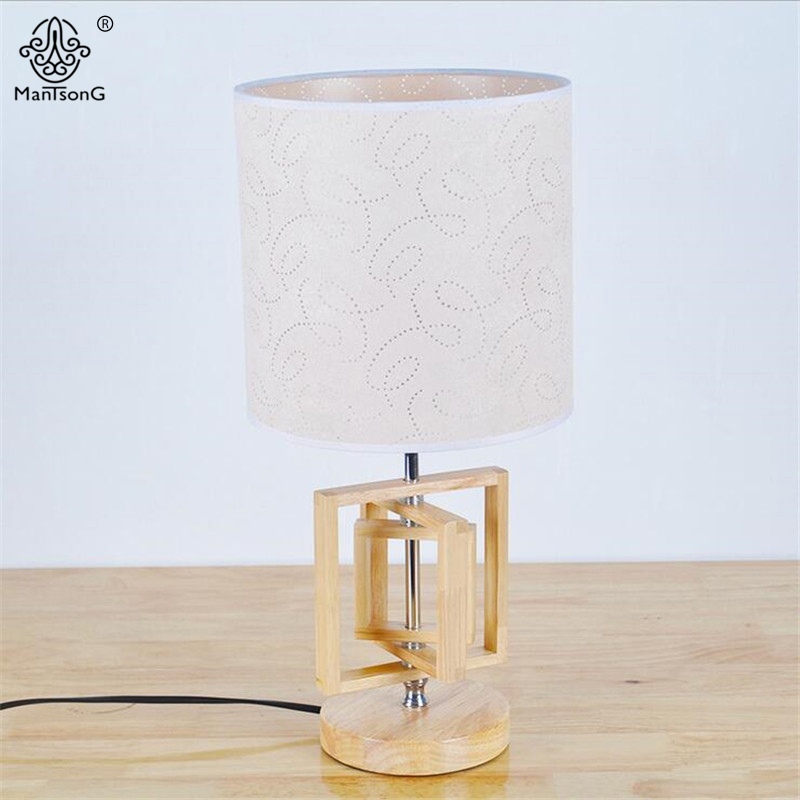 2017 Modern Fashion Table Lamps Wood Lamp Body Fabric Lampshade New Desk Lampe E27 110V/220V AC For Bedroom/Living Room Lighting retro luxury peacock led table lamps cloth lampshade for bedroom living room lighting e27 110 220v desk lights