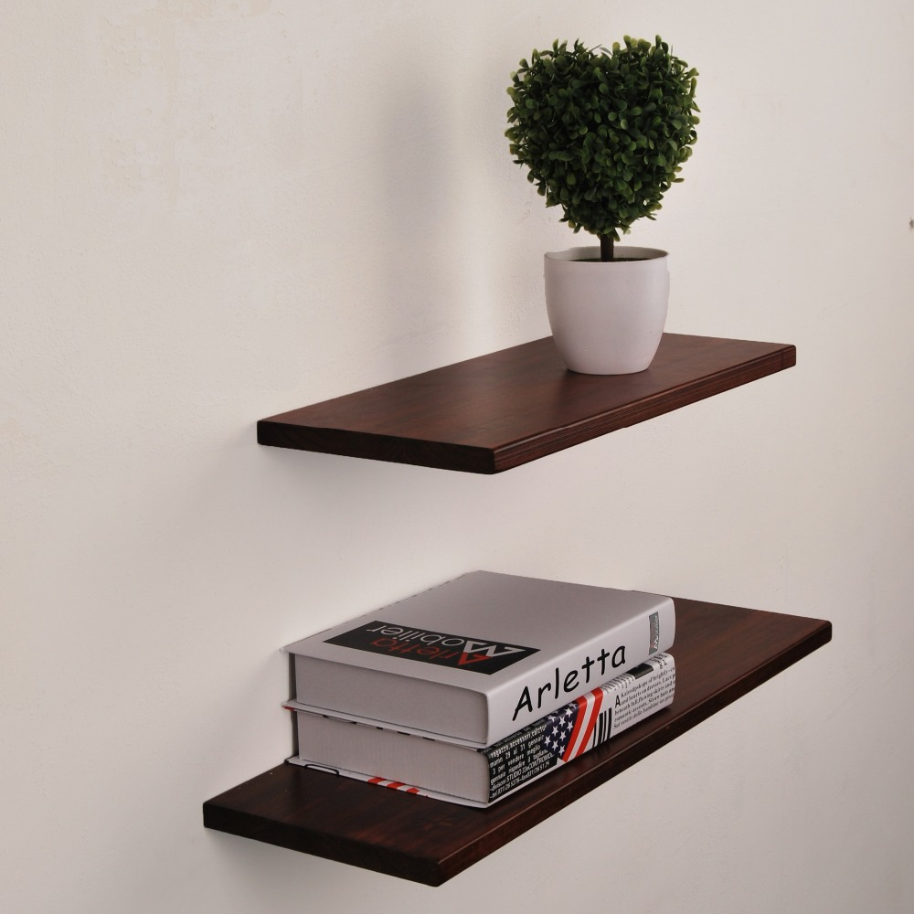 Floating Wall Shelves with Invisible Brackets Handmade Shelf Made of Rustic Pine 40cm Wide by 20cm