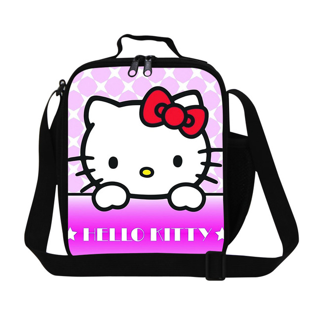 Cute O Kitty Cartoon Children Cooler Lunch Bag S Sacola Picnic Portable Meal Package Totes