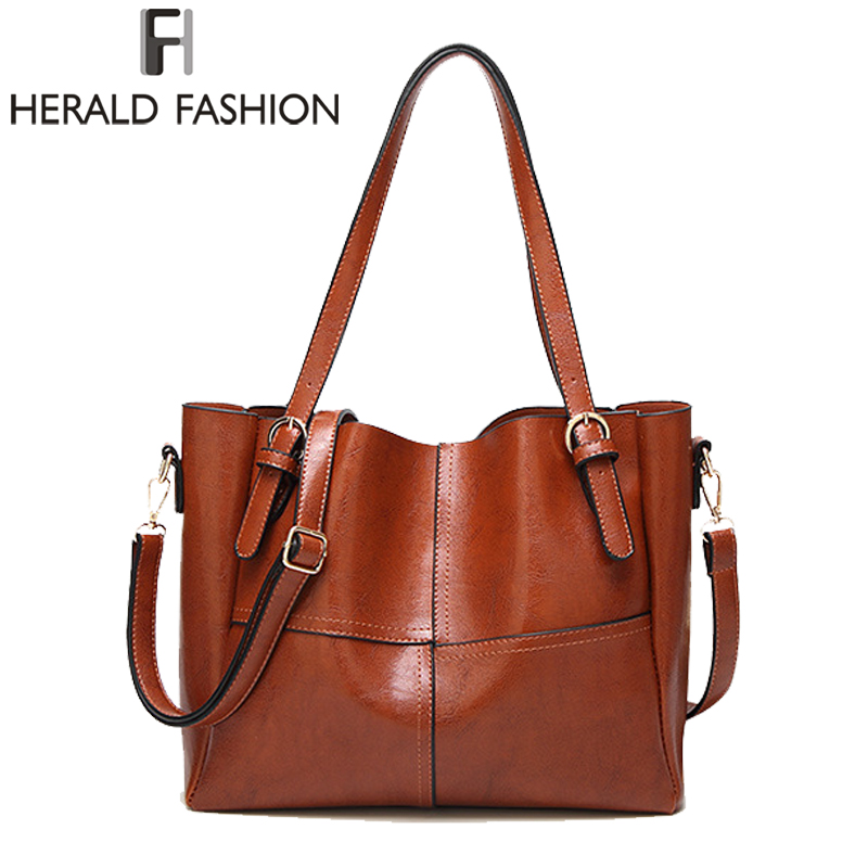 HERALD FASHION Large Capacity Women Tote Bag Women's High Quality PU Leather Handbags Top-Handle Bags Women Shoulder Bag bolsa instantarts large capacity women handbags high quality lady top handle bag tape print brand design shopping tote shoulder bags