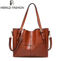 HERALD FASHION Large Capacity Women Tote Bag Women S High Quality PU Leather Handbags Top Handle