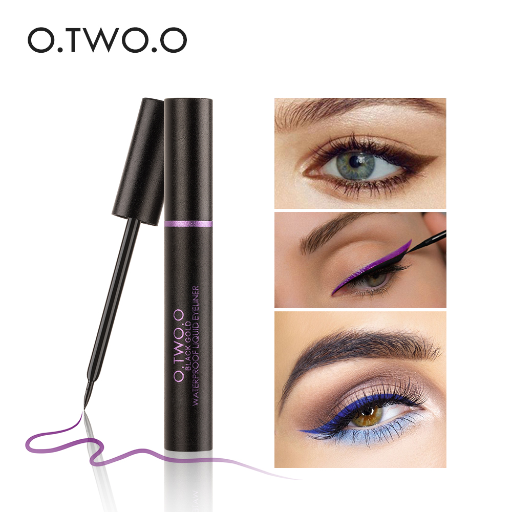 O.TWO.O Liquid Eyeliner Cosmetics Long-Lasting Ultimate Waterproof Eye Liner Party Eyes Makeup Blue Brown Purple Color