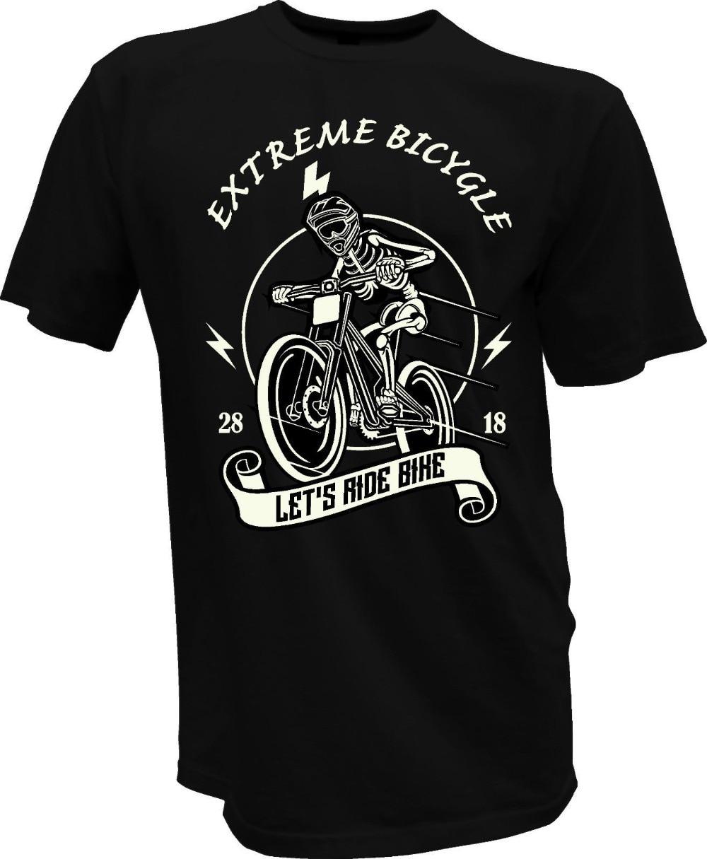 Brand 2018 New T Shirt Men Clothing Mens T-Shirt Bmx Skull Black Extreme Biker Bicycle Fun Biker Helmet Tee shirt
