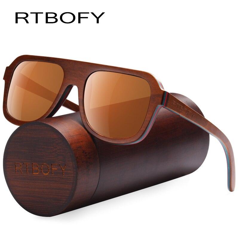 RTBOFY 2017 Wood Sunglasses Men Brand Designer Polarized Sunglasses Wood Sun Glasses For Men Original Have Box Retro Eyewear rtbofy wood sunglasses for men and women skateboard wood frame shades oval shape glasses