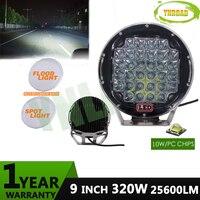 YNROAD 320 Вт 9 дюймов черный светодио дный круглый светодиодный свет вождения светодио дный светодиодный внедорожный свет светодио дный светод