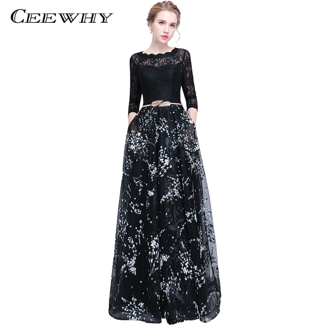 CEEWHY Three Quarter Sleeve Floral Vintage Prom Dresses Long Evening Dress  Elegant Evening Party Lace Dress Abendkleid 633b89f1f9e6
