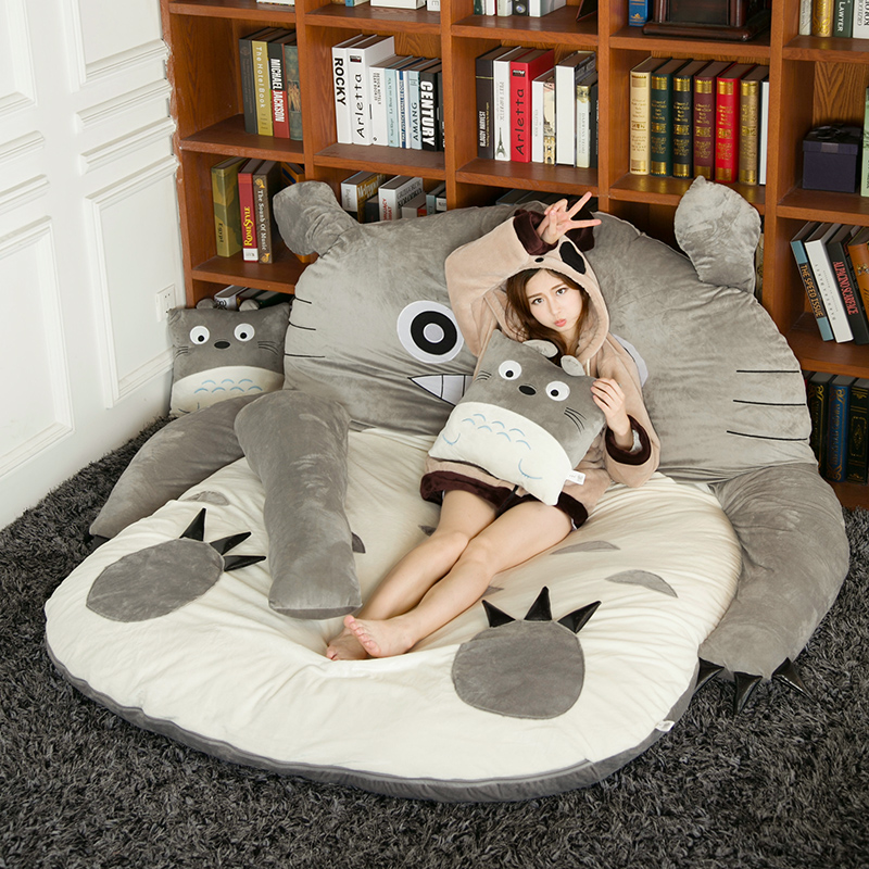 Japanese Anime Totoro Plush Beanbag Cartoon Cat Bed Tatami Mattress Cute Children Sleeping Bag For Adults And Kids Gift