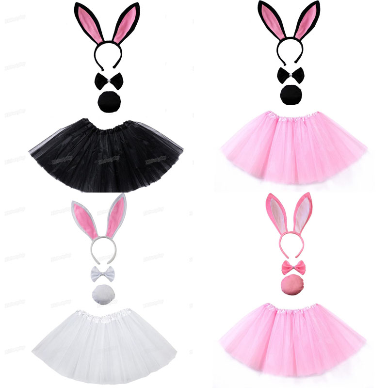 Bunny Ear Headband Tutu Set Black Pink White   Costume Hen Party Big Rabbit Ear Hairbands Cosplay Kids Girl  Halloween Christmas