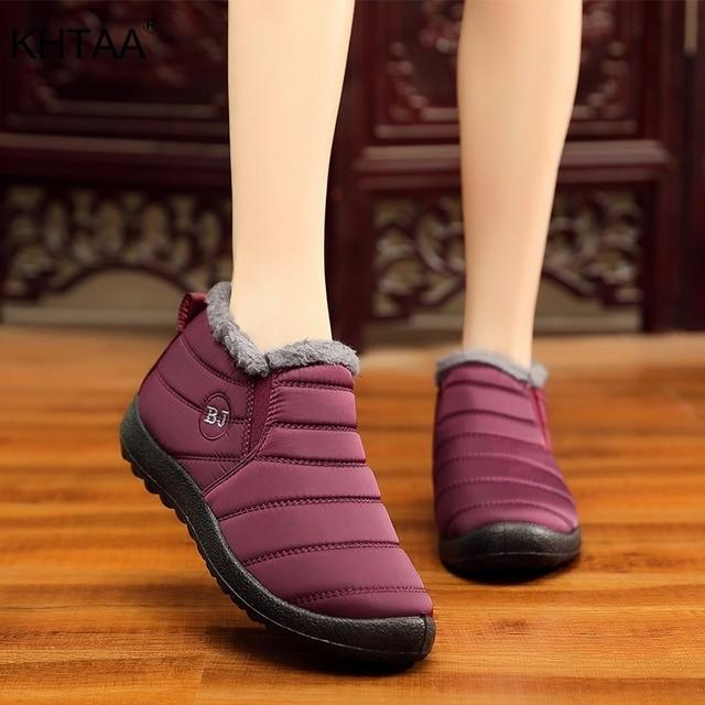 KHTAA Wodoodporne buty damskie Zimowe Unisex Botki damskie Poślizg Plus Size Śnieg Buty Ciepłe Pluszowe Para Styl Bawełna Dorywczo