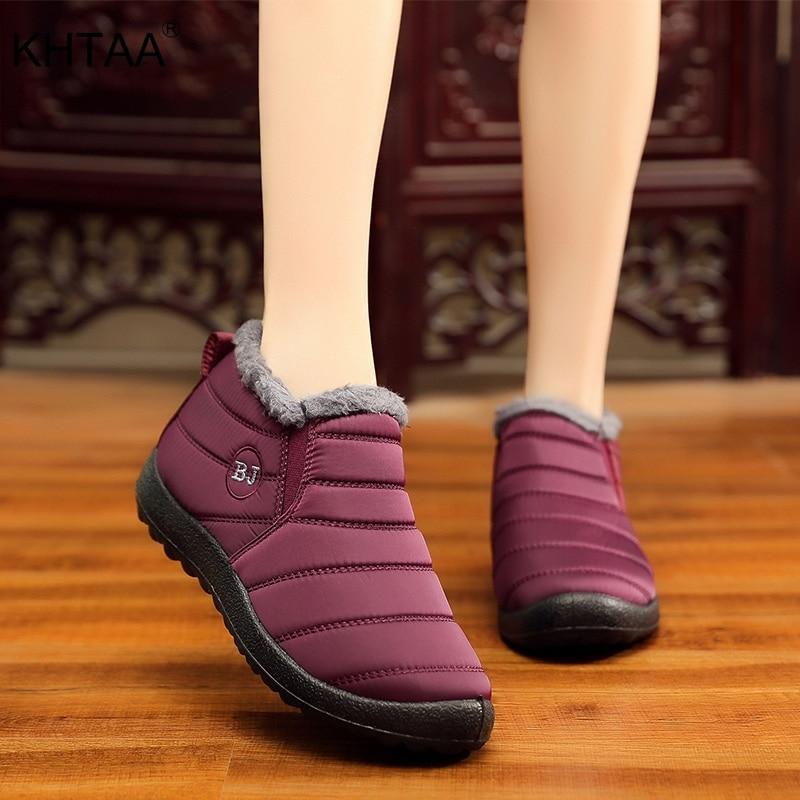 KHTAA impermeable zapatos de mujer invierno Unisex tobillo botas mujer antideslizante Plus tamaño botas para la nieve caliente de peluche de felpa de algodón de estilo casual
