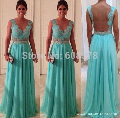 Exquisite Mint Green Sheer Back Free shipping See Through Lace Long Formal Evening Dresses Gown Floor Length 2018 Top Fashion in Evening Dresses from Weddings Events