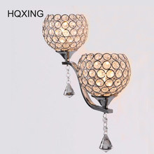 HQXING Brief modern crystal wall sconces double slider silver Wall lamp mirror/ stair /bed room light Free shipping new arrival(China)
