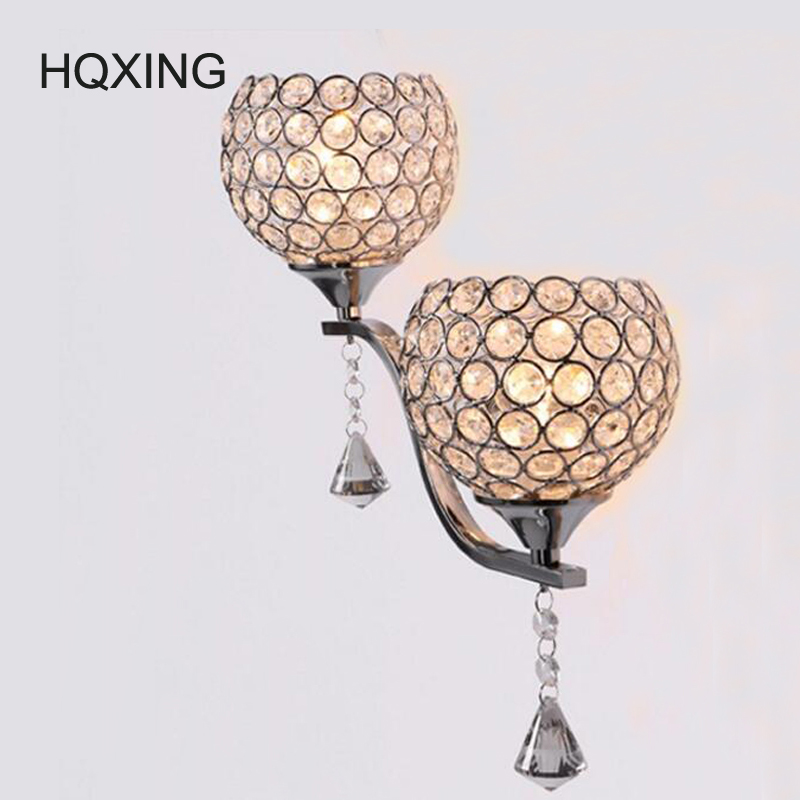 HQXING Brief modern crystal wall sconces double slider silver Wall lamp mirror/ stair /bed room light Free shipping new arrival new arrival modern brief lighting child light bedroom lamp study light lamps d0018 free shipping