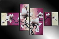 hand painted wall art Quiet Pink flower petals home decoration wall pictures for living room oil painting on canvas 4pcs/set