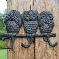 Vintage Cute Three Owls Design Wall Decor Cast Iron Hook with Three Hooks Don't Want to See to Listen to Say