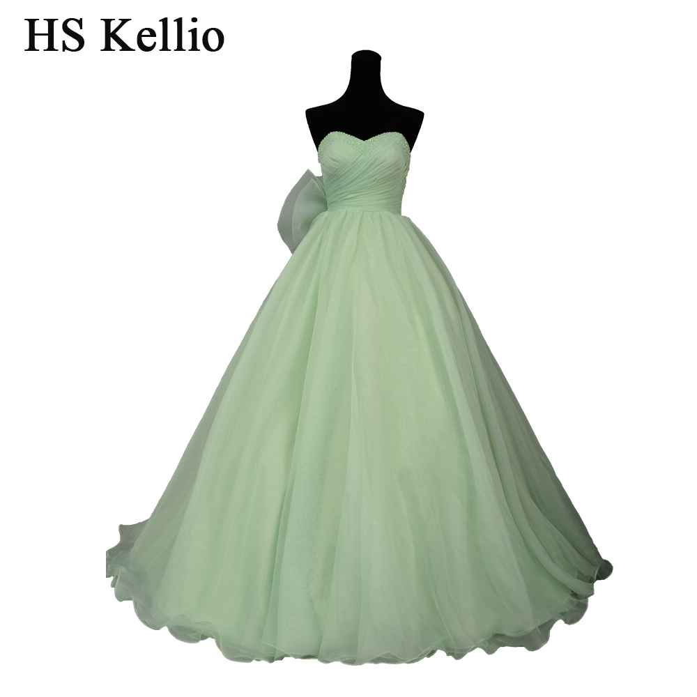 HS Kellio Green Bridal Romantic Beach Wedding Dress Train Sweetheart Wedding Gown Organza Big Bow Trimming Novias