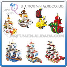 Full Set 7 pcs Mini Qute Lele Brother Anime one piece Chopper Luffy pirate ship building block cartoon model educational toy