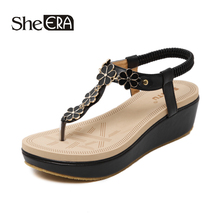 New Fashion Women Sandals Flower Wedges Breathable Comfortable Classic Shoes She ERA