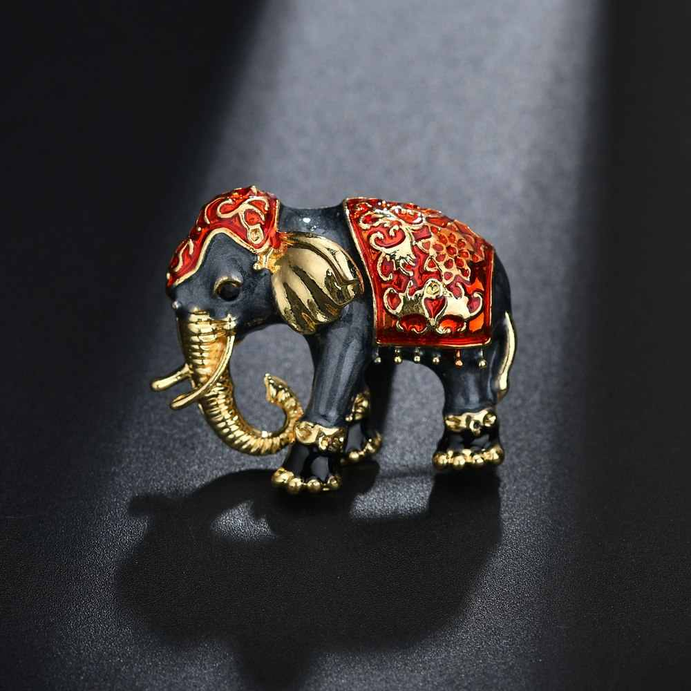 Terreau Kathy Enamel Elephant Brooches Pins Jewelry Gold-color Women Garment Scarf Accessory Rhinestone Crystal Animal Brooch